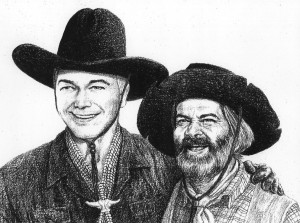 "Hopalong Cassidy and George ""Gabby"" Hayes (Art © Jim Sanders)"